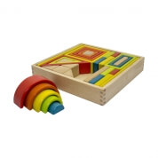 Artiwood Wooden Block Shape Set Tray 33 Piece