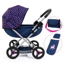 Bayer Cosy Doll Pram Dark Blue with Pink Heart Hood