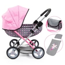 Bayer Cosy Doll Pram Grey with Pink Spots and Pink Hood