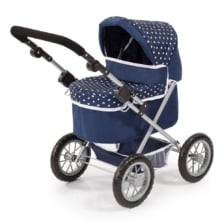 Bayer Trendy Doll Pram Dark Blue with White Hearts