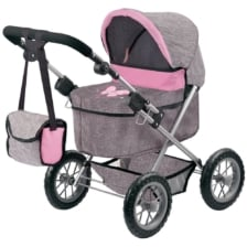 Bayer Trendy Doll Pram Grey and Pink with Butterfly Motif