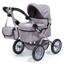 Bayer Trendy Dolls Pram Grey Denim with Crown Motif