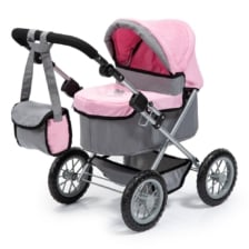 Bayer Trendy Pram Grey with Pink Trim and Butterfly Motif
