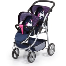 Bayer Twin Tandem Pram Dark Blue with Pink Hearts