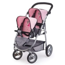 Bayer Twin Tandem Pram Pink and Grey