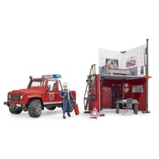 Bruder Bworld Fire Station with Land Rover Defender and Fireman