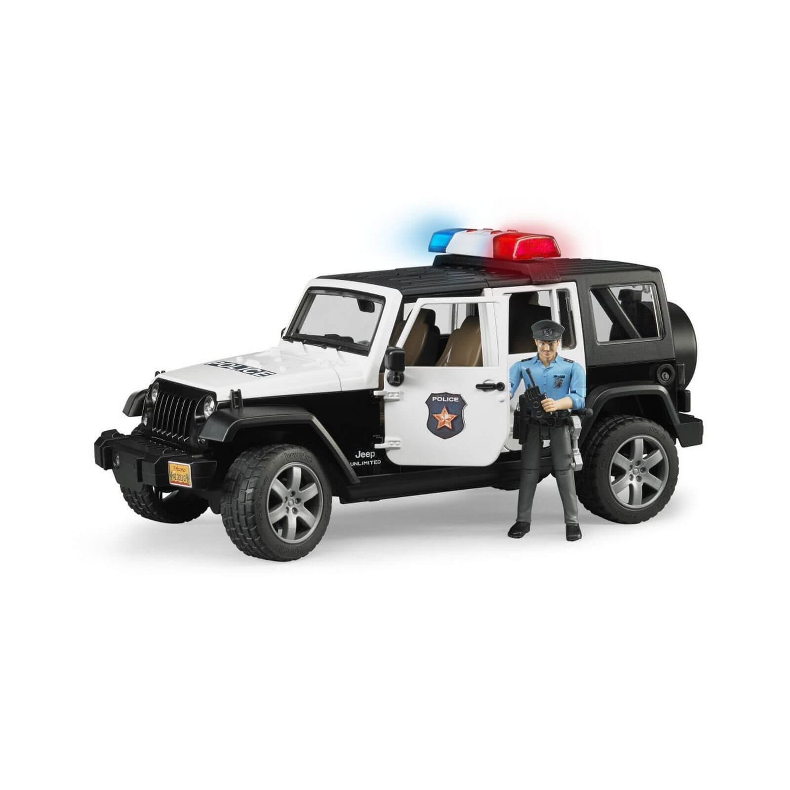 Bruder Jeep Wrangler Rubicon Police Vehicle with Policeman and