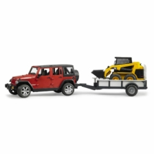Bruder Jeep Wrangler Rubicon with Trailer And CAT Skid Loader