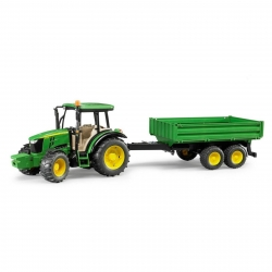 Bruder John Deere 5115 M Tractor with Dual Axle Tipping Trailer