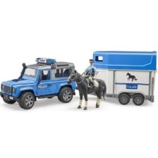 Bruder Land Rover Defender Police Vehicle with Horse Trailer