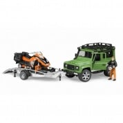 Bruder Land Rover Defender Wagon with Trailer and Snowmobile