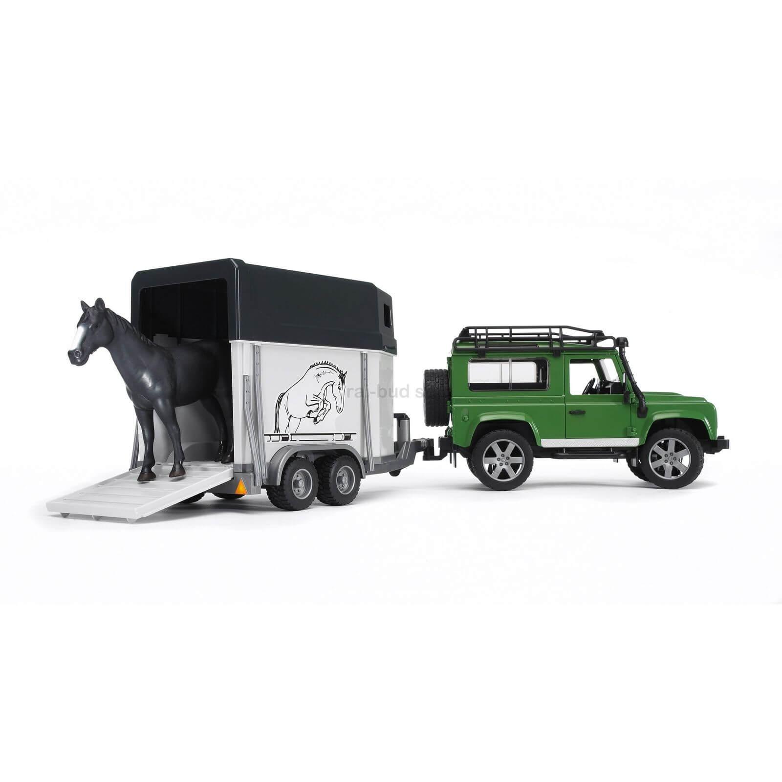 Bruder Land Rover Defender With Horse Trailer And Jadrem Toys Coupling