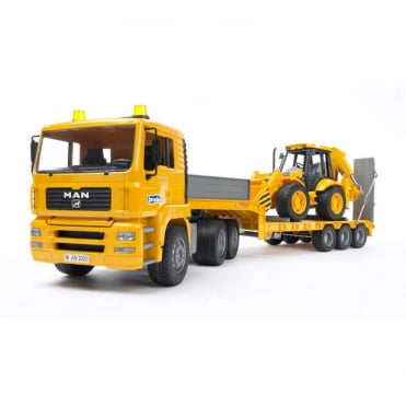 Bruder MAN TGA Low Load Truck with JCB Backhoe Loader