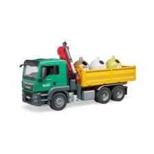 Bruder MAN TGS Truck with 3 Glass Recycling Containers and Bottles