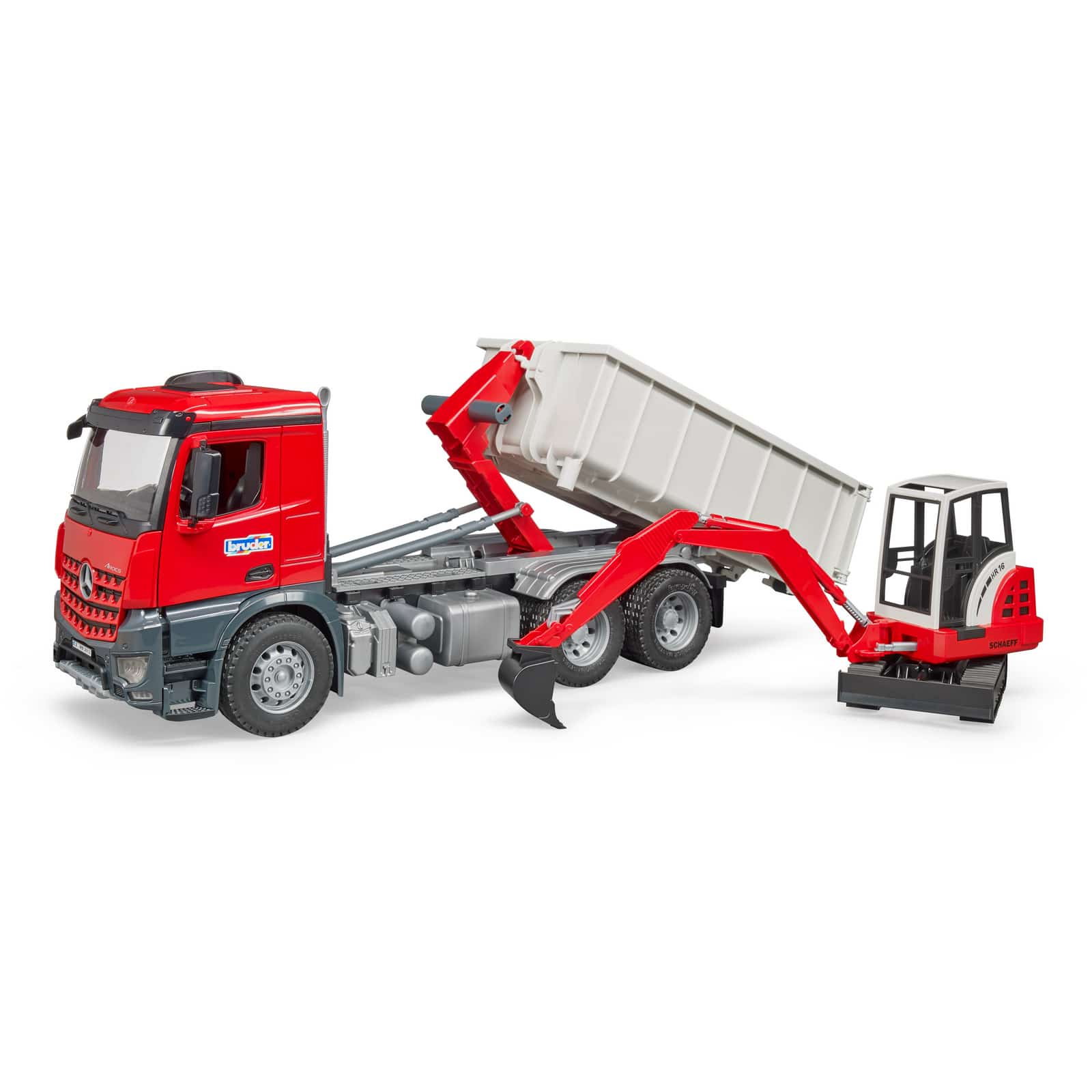 018f9b06b066 Bruder MB Arocs Truck with Roll Off Container and Schaeff Excavator