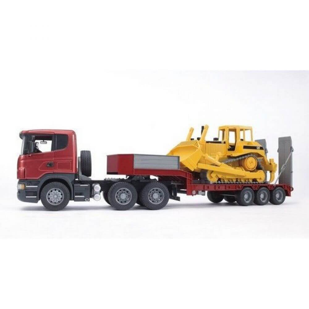 bruder scania r low loader truck and cat bulldozer jadrem toys