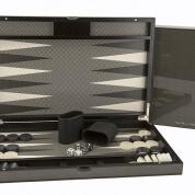 "Dal Rossi 15"" Carbon Fibre Finish Backgammon Set"