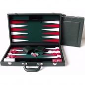 Dal Rossi Backgammon PU Leather Dark Green 15 inch