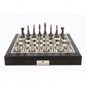 Dal Rossi Black PU Leather Bevelled Edge Staunton Metal Chess Set