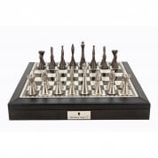 Dal Rossi Black PU Leather Bevelled Edge Staunton Metal Chess Set