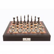 Dal Rossi Brown PU Leather Bevelled Edge Staunton Metal Chess Set