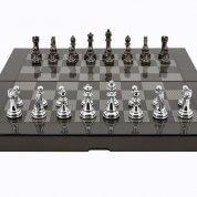 Dal Rossi Carbon Fibre Finish Folding Chess Set 16 Inch