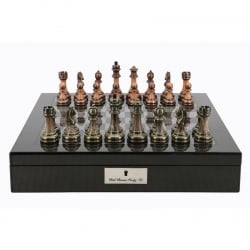 Dal Rossi Carbon Fibre Look Chess Box with Antique Chessmen