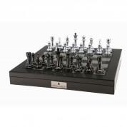 Dal Rossi Carbon Fibre Silver Titanium Chess Set