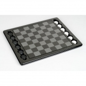 Dal Rossi Carbon Fibre Style Checkers Set