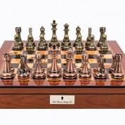 Dal Rossi Copper Bronze Finish Chess Set on Walnut Chess Box 50cm