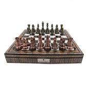 Dal Rossi Copper/Bronze Finish Chess Set on Mosaic Finish Chess Box