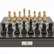 Dal Rossi Dark Red and Box Wood Chess Pieces on Carbon Fibre Board Box
