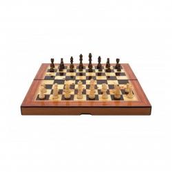 Dal Rossi Folding Walnut Shiny Finish Chess Set 38cm
