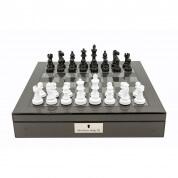 "Dal Rossi Italy Carbon Fibre Chess Box 16"" w Black White Chess Pieces"
