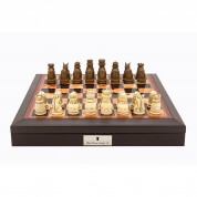 Dal Rossi PU Leather Bevelled Edge Chess Box 18 inch Medieval Chessmen