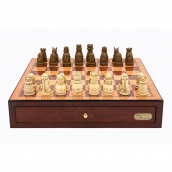 Dal Rossi Red Mahogany Finish Chess Set with Medieval Chess Pieces