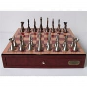 Dal Rossi Staunton Metal Chess Set with Drawers Red Mahogany Finish 45cm