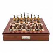Dal Rossi Staunton Metal Wood Chess Set Box 16 Inch