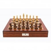 Dal Rossi Staunton Wooden Chess Pieces on Walnut Shiny Finish Chess Box