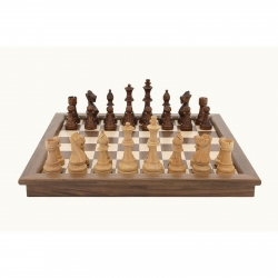 Dal Rossi Walnut Chess Set Folding 18 inch