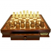 Dal Rossi Walnut Finish Chess Set with Medieval Chessmen