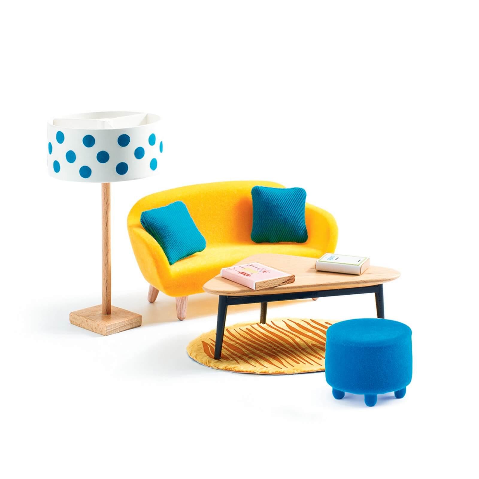 Djeco The Orange Living Room Dolls House Furniture 1:16