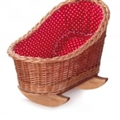Egmont Wicker Doll Cradle with Red and White Hearts Bedding