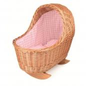 Egmont Wicker Dolls Cradle with Pink Gingham Bedding