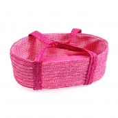Egmont Woven Moses Basket Pink for Doll