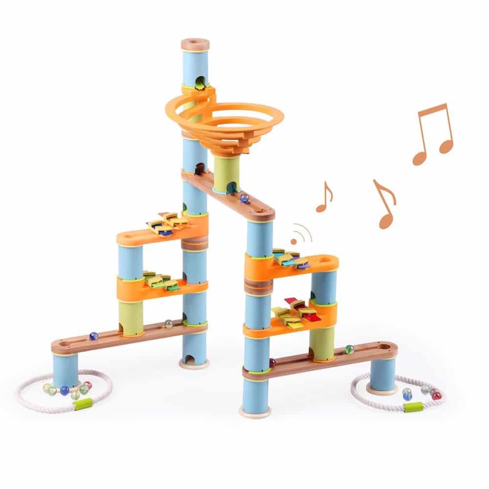 Fat Brain Toys 127 Piece Musical Bamboo Marble Run Jadrem Toys