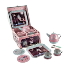 Floss and Rock Musical Tin Tea Set in House Case 11 Pieces