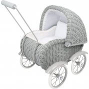 German Grey Wicker Dolls Pram