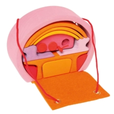 Grimm's Portable Dolls House Pink/Orange