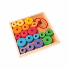 Grimm's Threading Bead Game with Wooden Tray